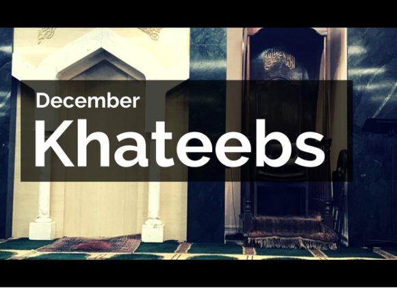 December Khateeb Schedule