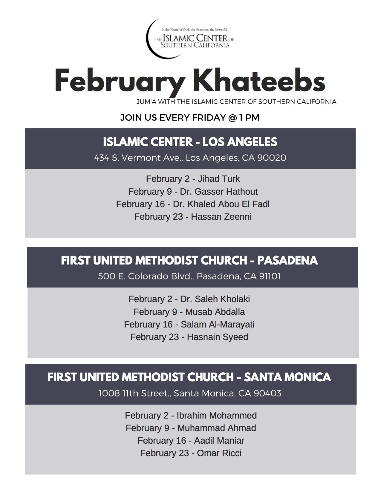 February Khateeb Schedule